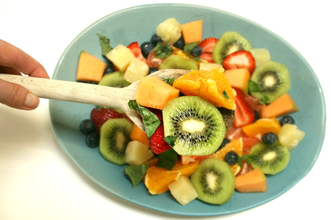 fruit salad blue plate