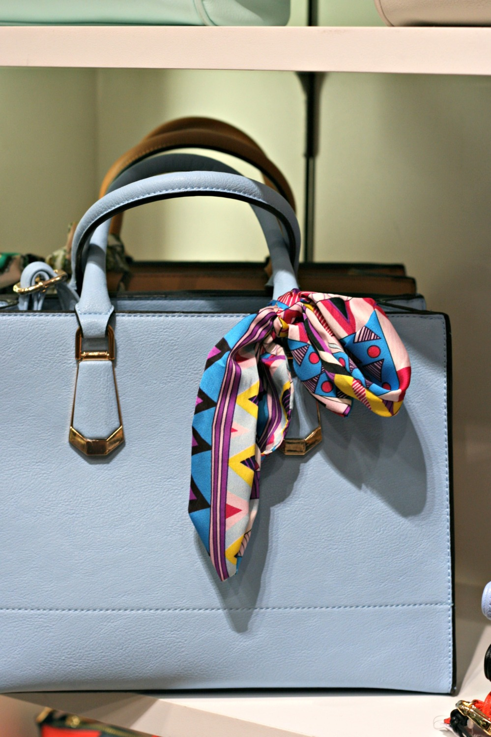 aldo spring blue bag and scarf