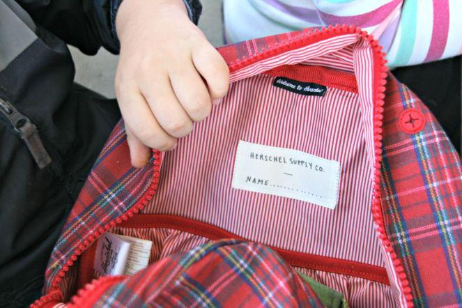 hershel inside backpack