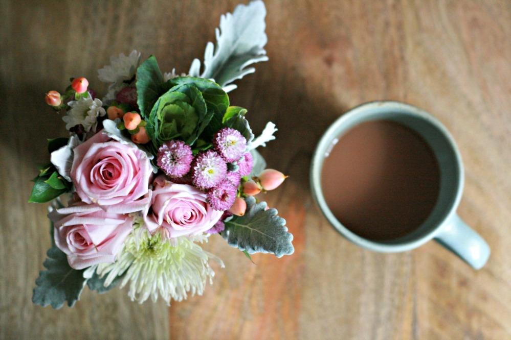gw flowers on side table