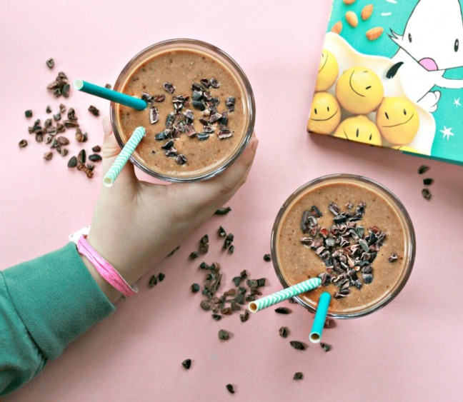 The Help Yourself Cookbook For Kids un-stick in the mud chocolate smoothie close up