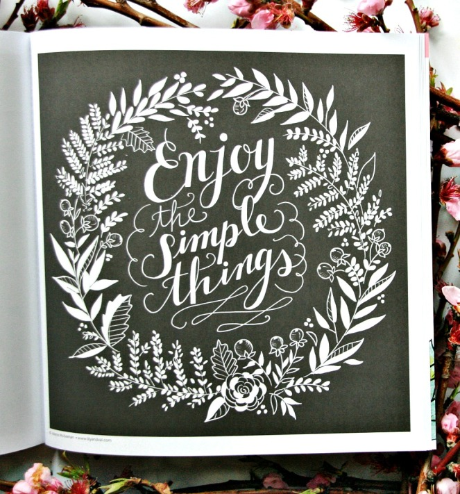 Chalk-Style Botanicals Deluxe Coloring Book enjoy the simple things