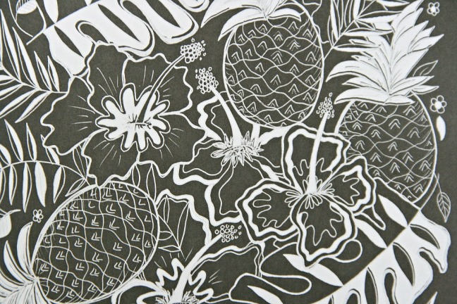 Chalk-Style Botanicals Deluxe Coloring Book pineapples