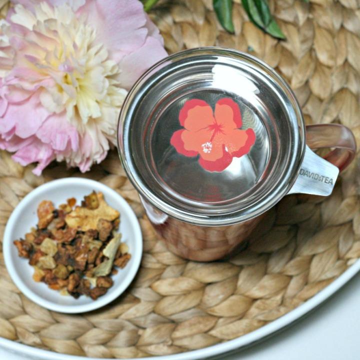 DAVIDsTEA hibiscus perfect glass mug lid square