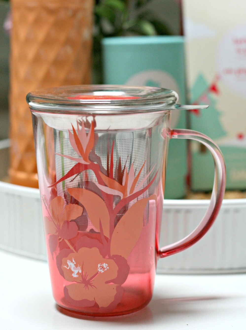 DAVIDsTEA hibiscus perfect glass mug