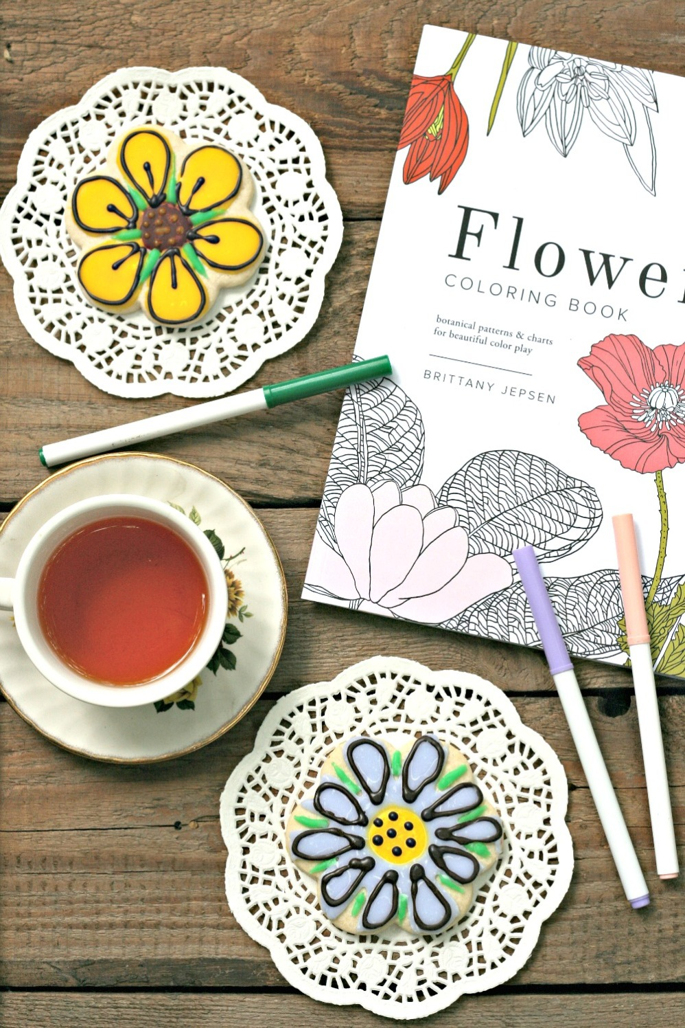 Flowers Coloring Book by Brittany Jepsen cookies