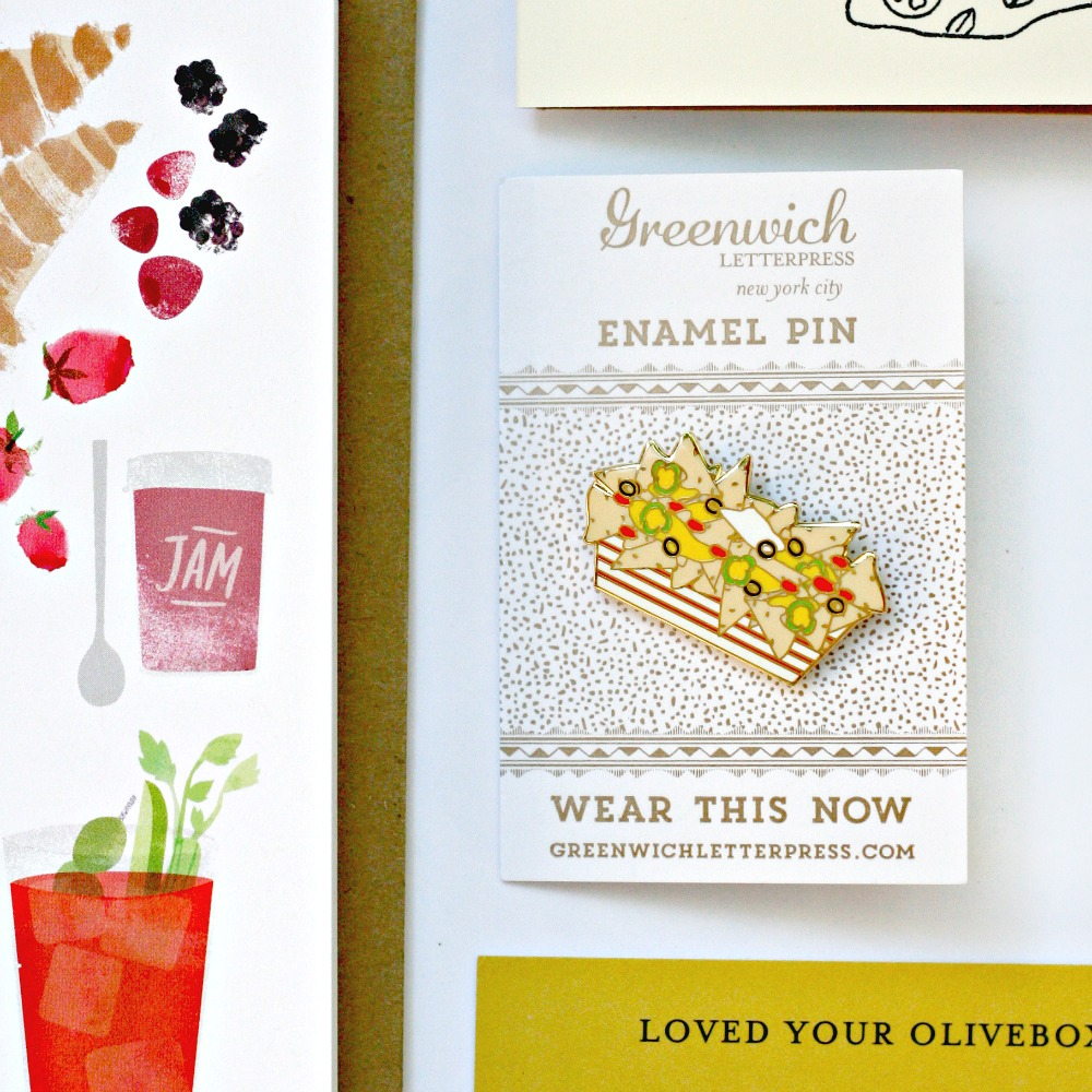 OliveBox Greenwich Letterpress enamel taco pin
