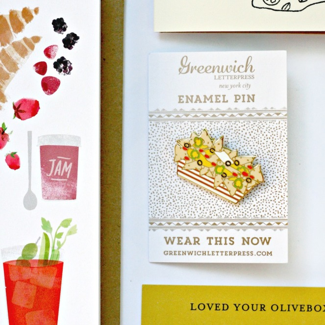 OliveBox Greenwich Letterpress enamel taco pin