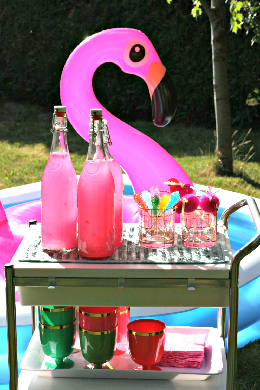 Lick Your Plate pink flamingo pool float and pink lemonade