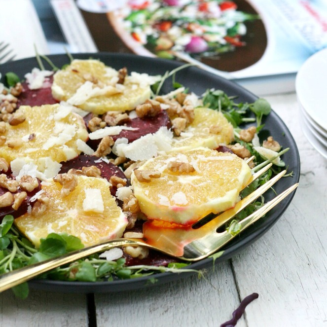 Canadian Living Essential Salads Orange and Beet Salad with Pareman Curls close up 4