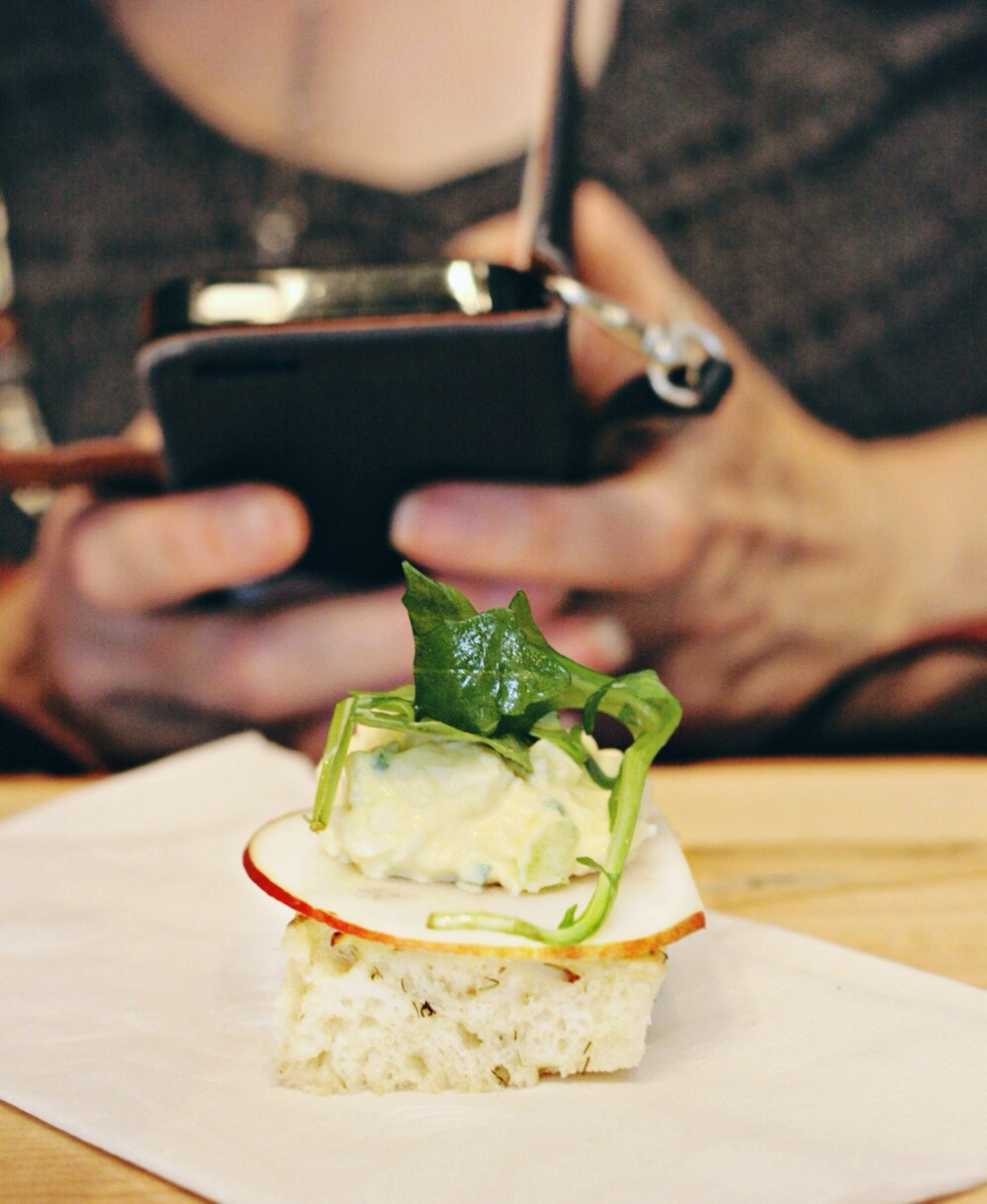 farm to chef Dill bread with apple slice, egg salad topped with arugula 2