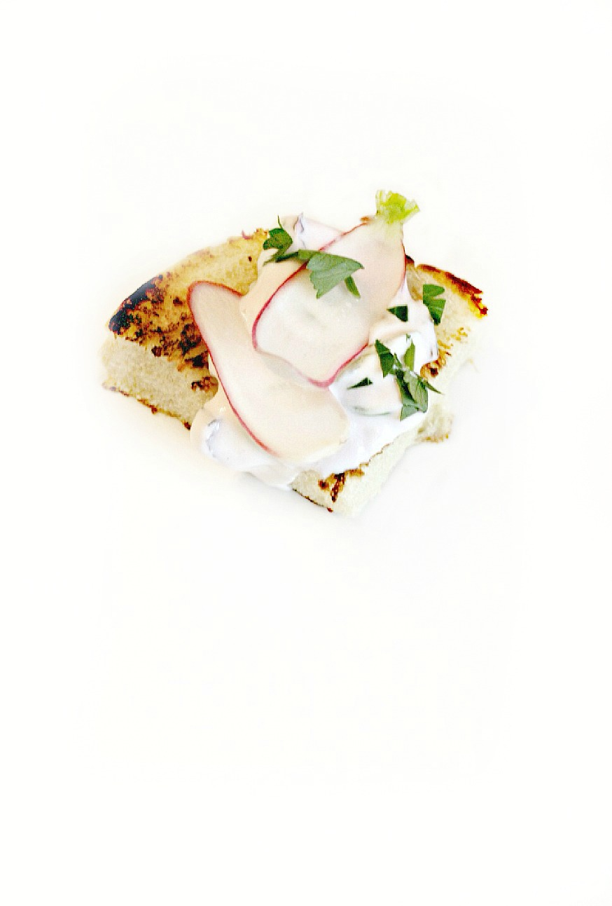 farm to chef egg bread with grilled swiss chard, sour cream and radish white 5