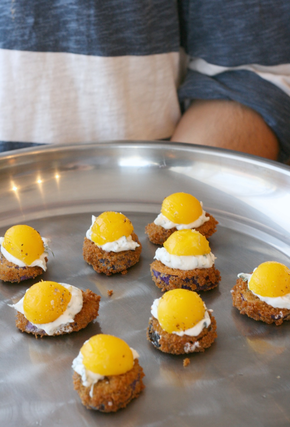 farm to chef platter fried eggplant topped with herbed yogurt and smoked egg yolk
