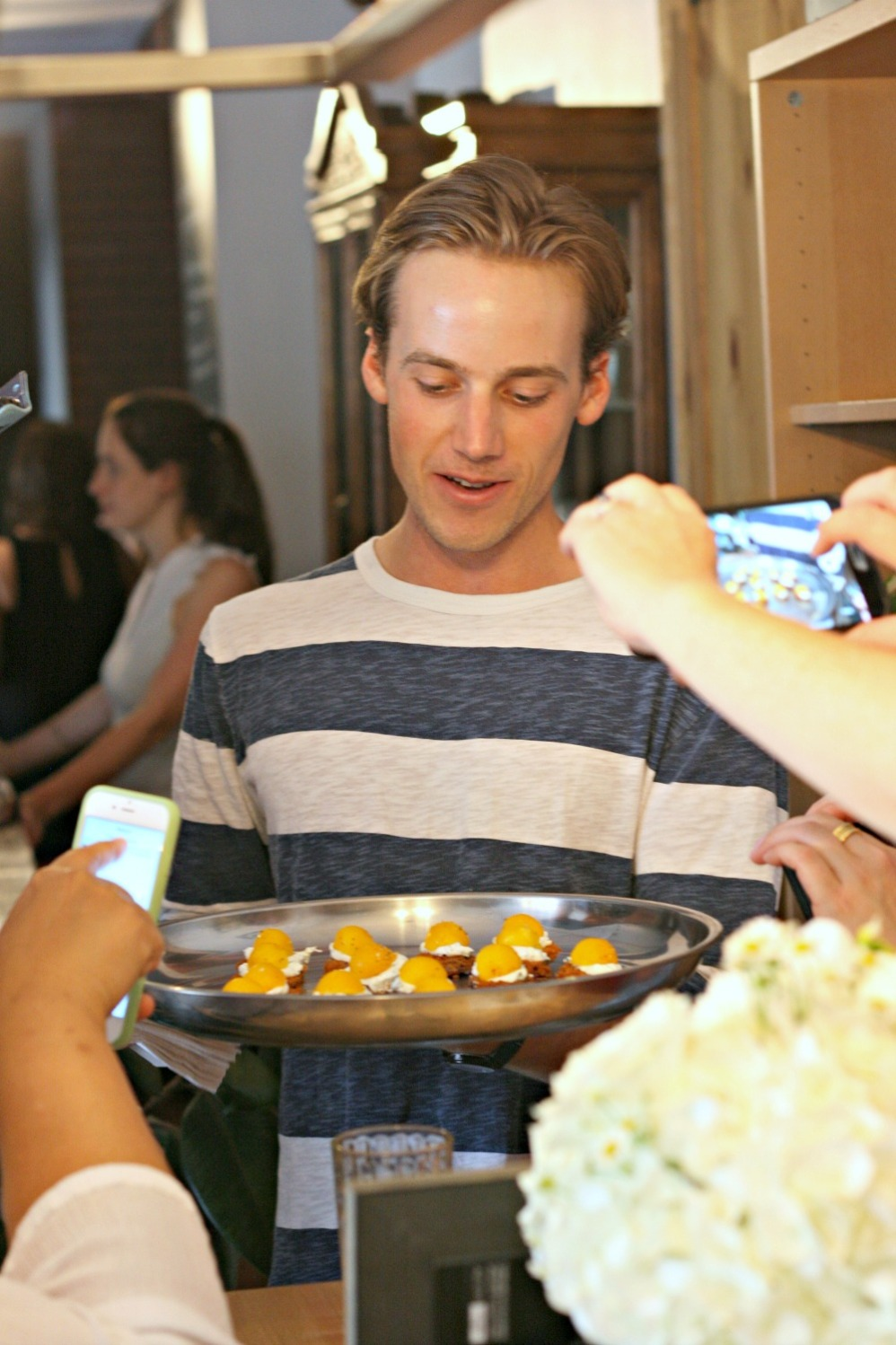 farm to chef serving fried eggplant topped with herbed yogurt and smoked egg yolk