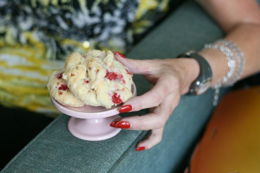 The I Heart Naptime Cookbook  raspberry cream scones close up