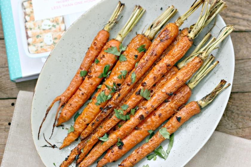 The I Heart Naptime Cookbook roasted balsamic carrots full plate