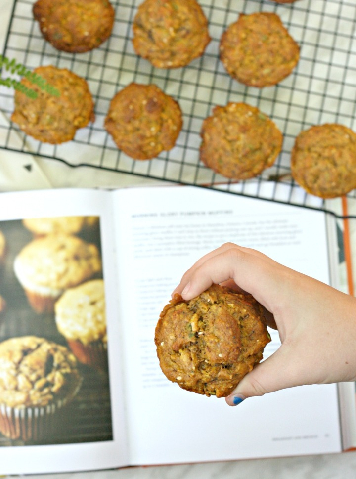 Purely Pumpkin morning glory pumpkin muffins in hand