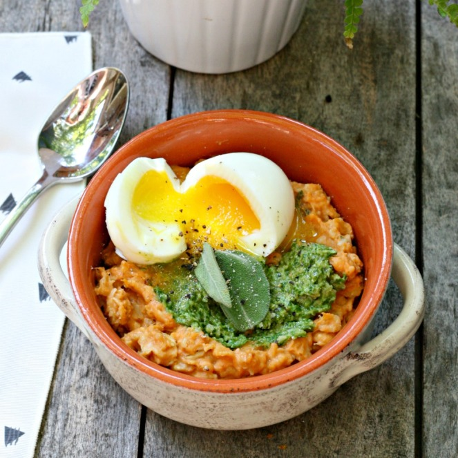 Purely Pumpkin savory herbed pumpkin oatmeal with soft-boiled eggs and pumpkin seed pesto