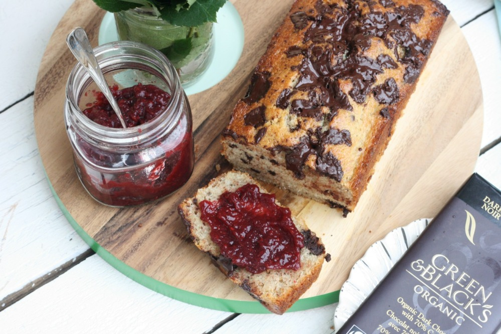 Green and Black's Farmhouse Chocolate Banana Bread with jam on a sliec try small things