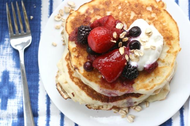 Pancakes and Waffles oatmeal pancakes close up