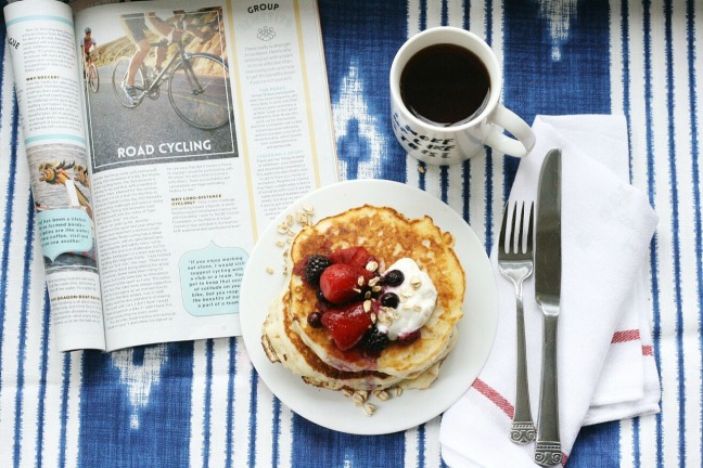 Pancakes and Waffles oatmeal pancakes with berry compote