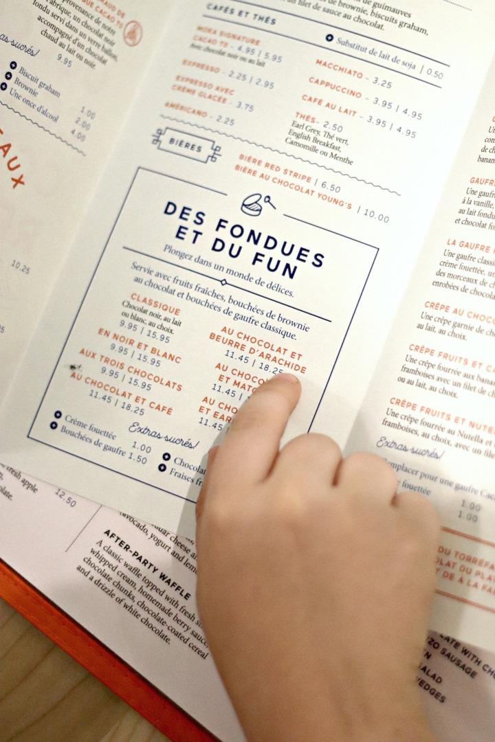 Cocao 70 Gatineau menu des fondues et du fun