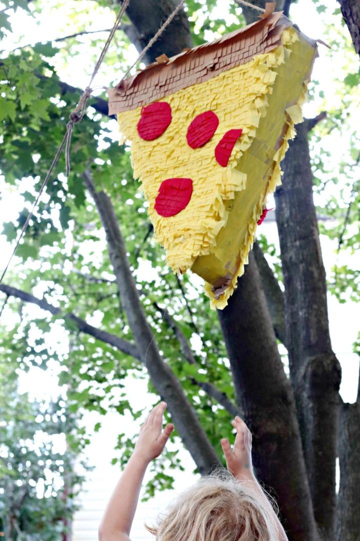 Panago Pizza hoisting pinata