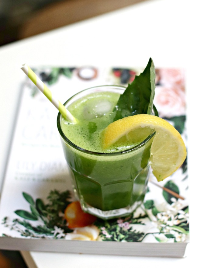 Kale and Caramel Sparkling Cucumber Basil Lemonade