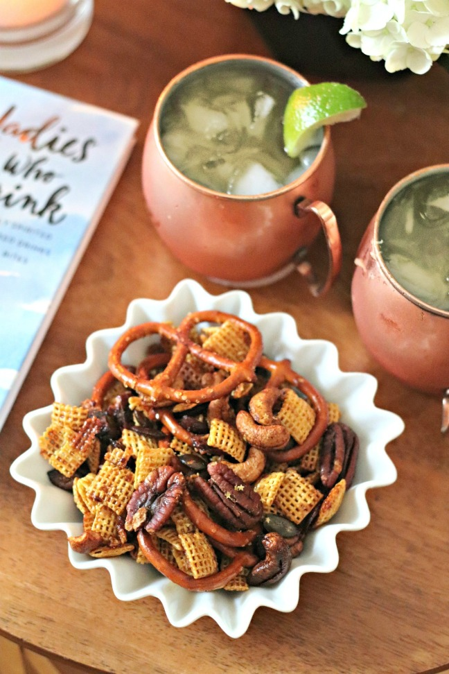 Ladies Who Drink snack mix and Moscow Mule overhead shot final