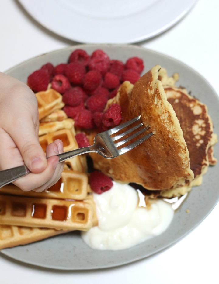 Stonewall Kitchen Farmhouse Pancake & Waffle Mix serving pancakes