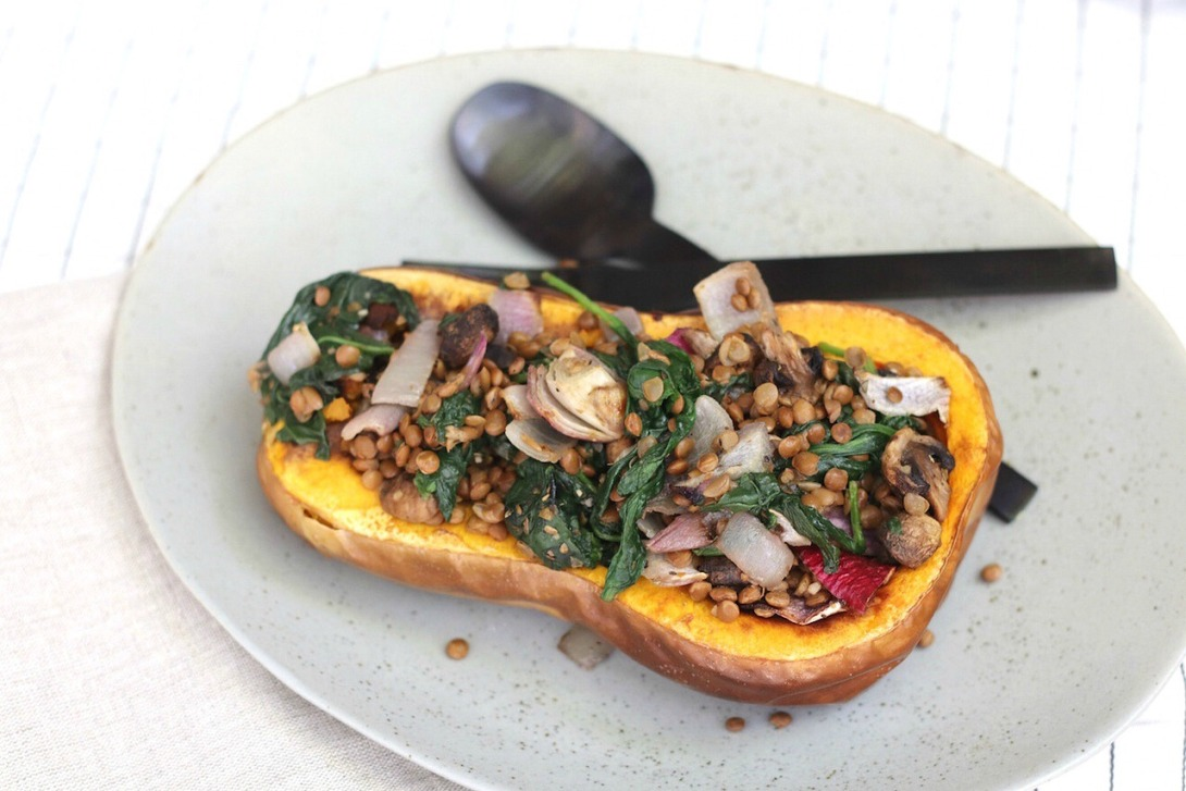 Lentils and Spinach-Stuffed Squash Halves from Sheet Pan Suppers Vegetarian 2