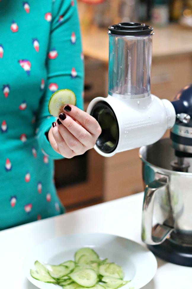 KitchenAid Fresh Prep Slicer:Shredder Attachment sliced cucumber 2