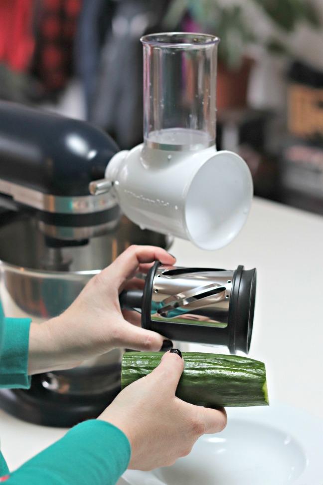 KitchenAid Fresh Prep Slicer:Shredder Attachment slicing blade and cucumber