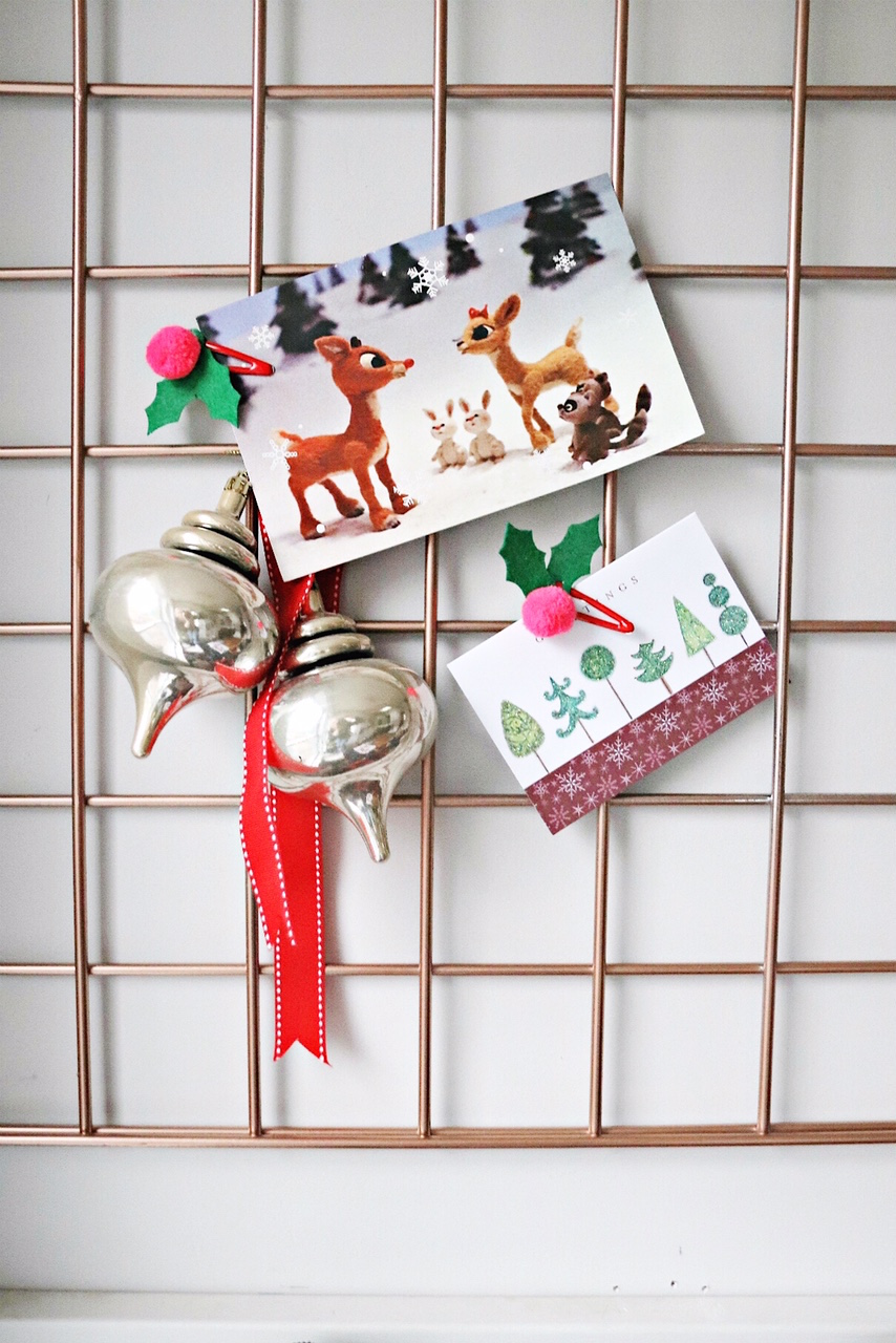 Staples DIY Christmas Card Organizer Grill cards and ornaments close up