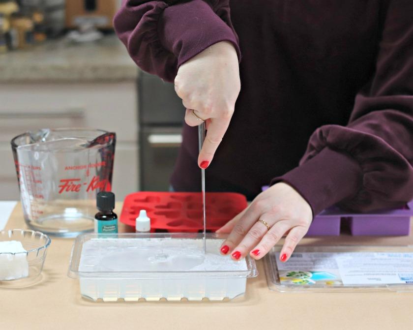 DIY valentine soap cut glycerin soap base