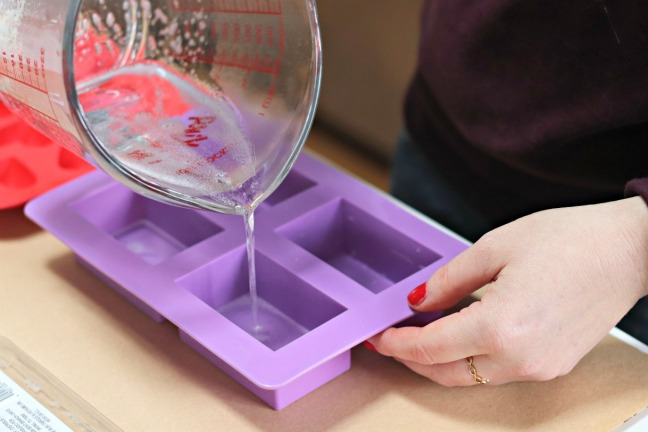 DIY valentine soap pour melted soap into mold