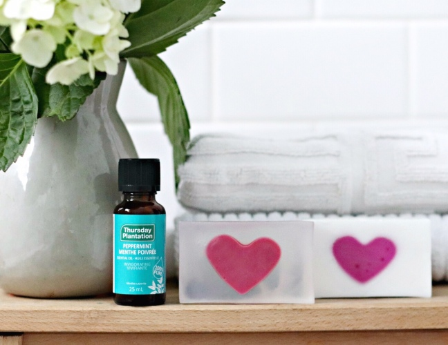 DIY valentine soap with Thursday Plantation peppermint oil feature image brighter