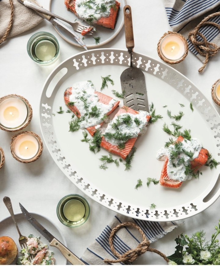 Scandinavian Gatherings_Poached Salmon with Dill Sauce_Photography by Charity Burggraaf