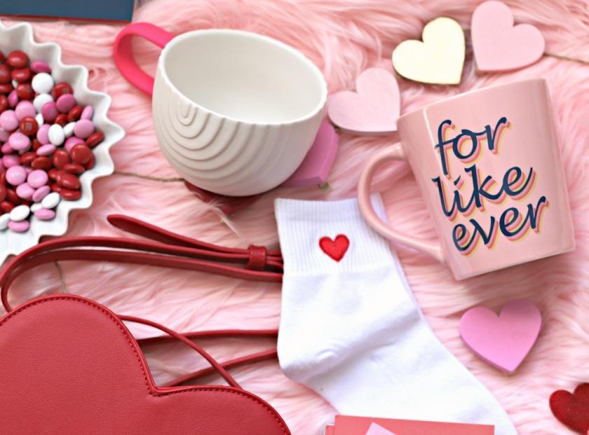 Chapters Indigo For Like Ever mug, Starbucks Valentine mug, Forever 21 heart socks