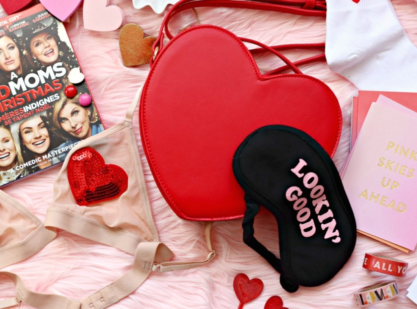 Forever 21 heart shaped purse and Target Lookin' Good sleep mask