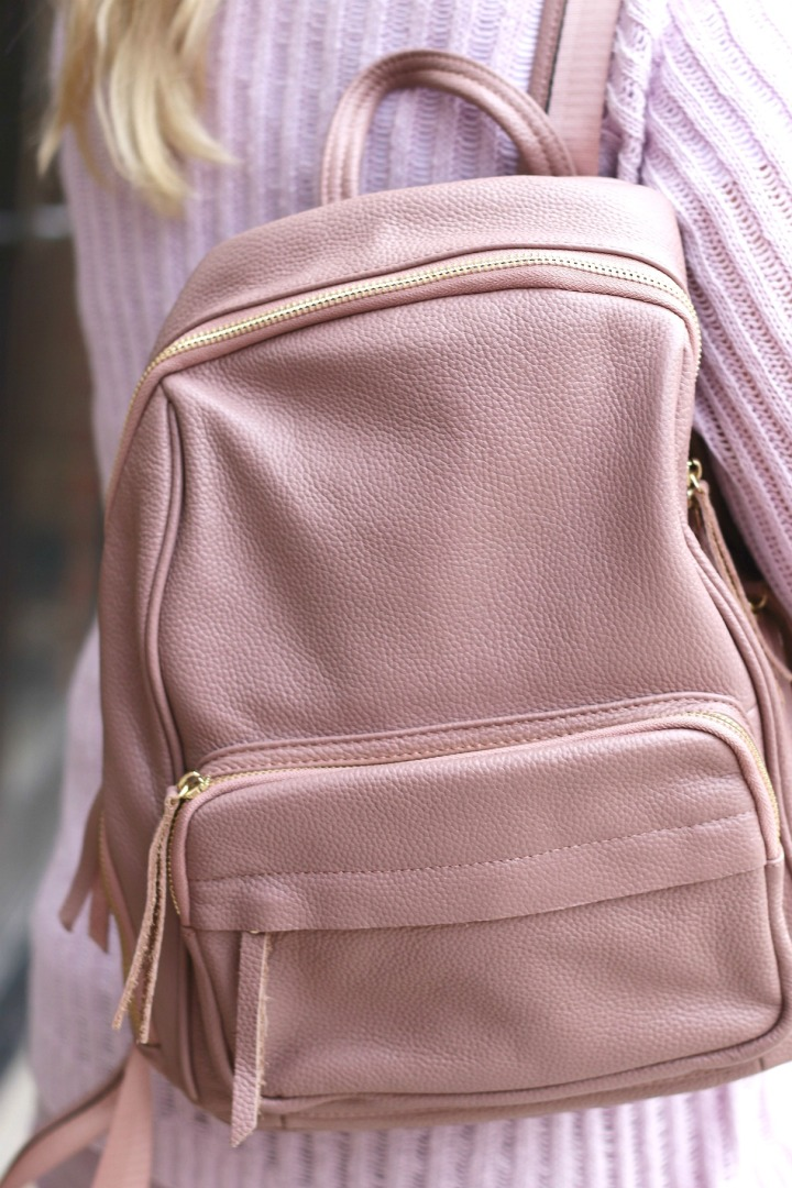 Cocus Pocus leather backpack blush close up