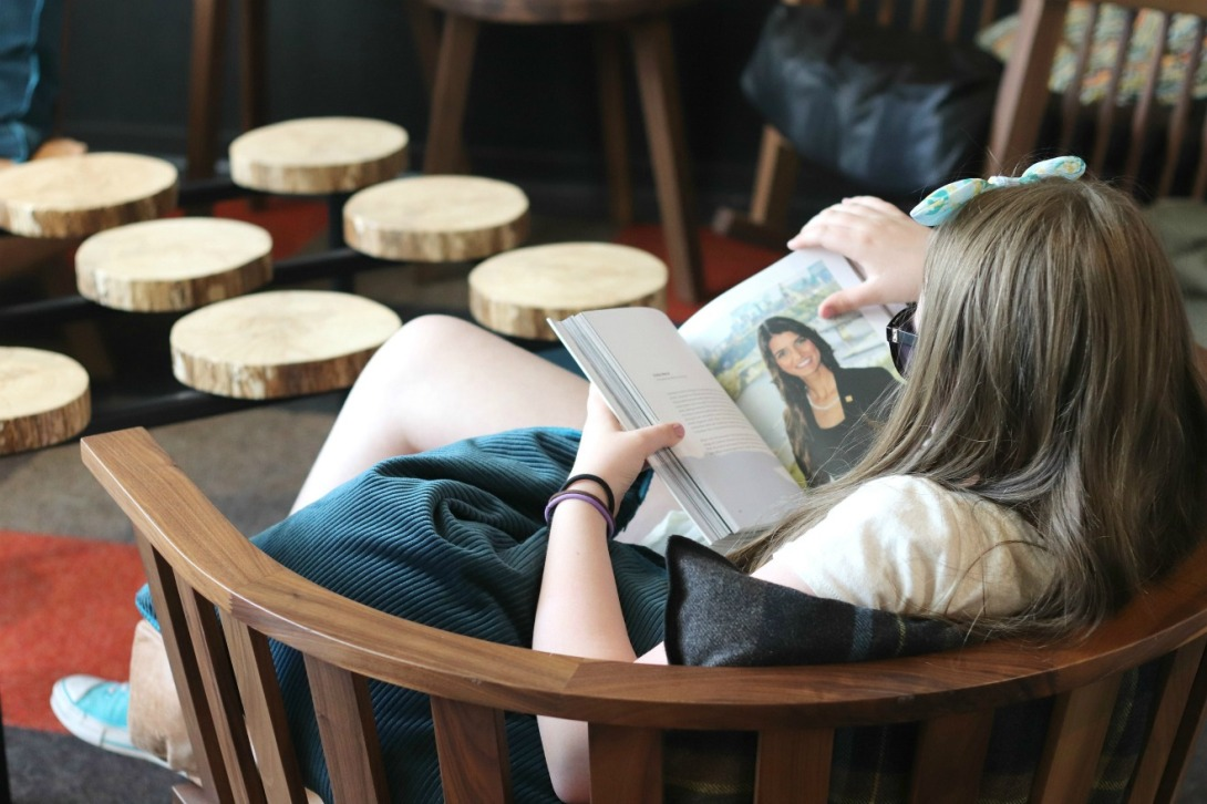 Alt Hotel lobby Lily reading