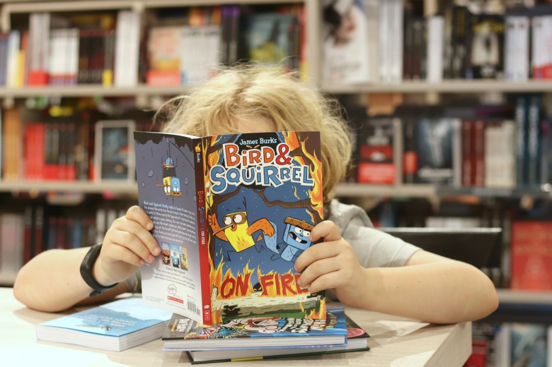 Indigo Innes reading Bird and Squirrel On Fire horizontal