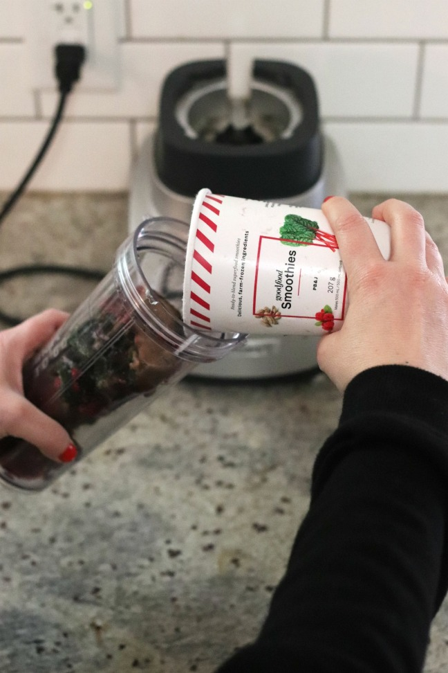 Goodfood smoothie PB&J pouring in cup