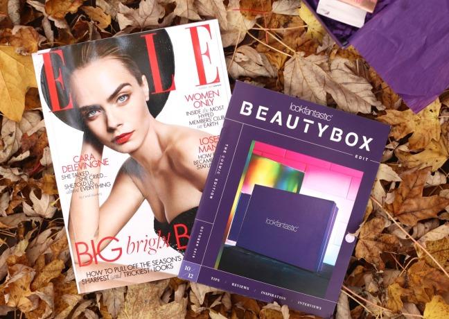lookfantastic october 2019 brochure and elle magazine