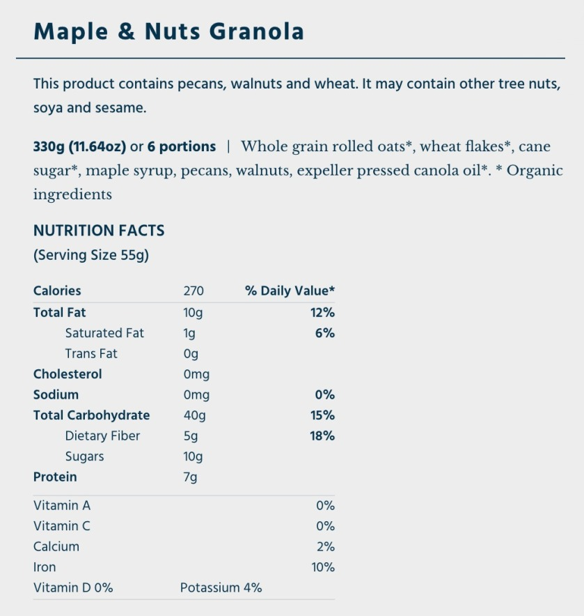 OatBox Maple & Nuts Granola nutritional info