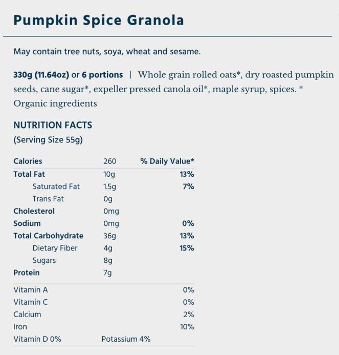 OatBox Pumpkin Spice Granola nutritional info