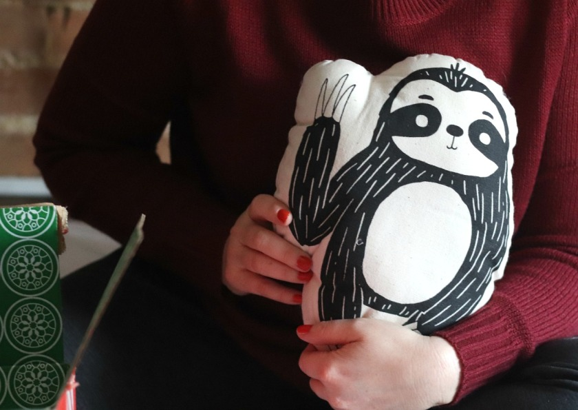 GlobeIn November 2019 sloth animal pillow