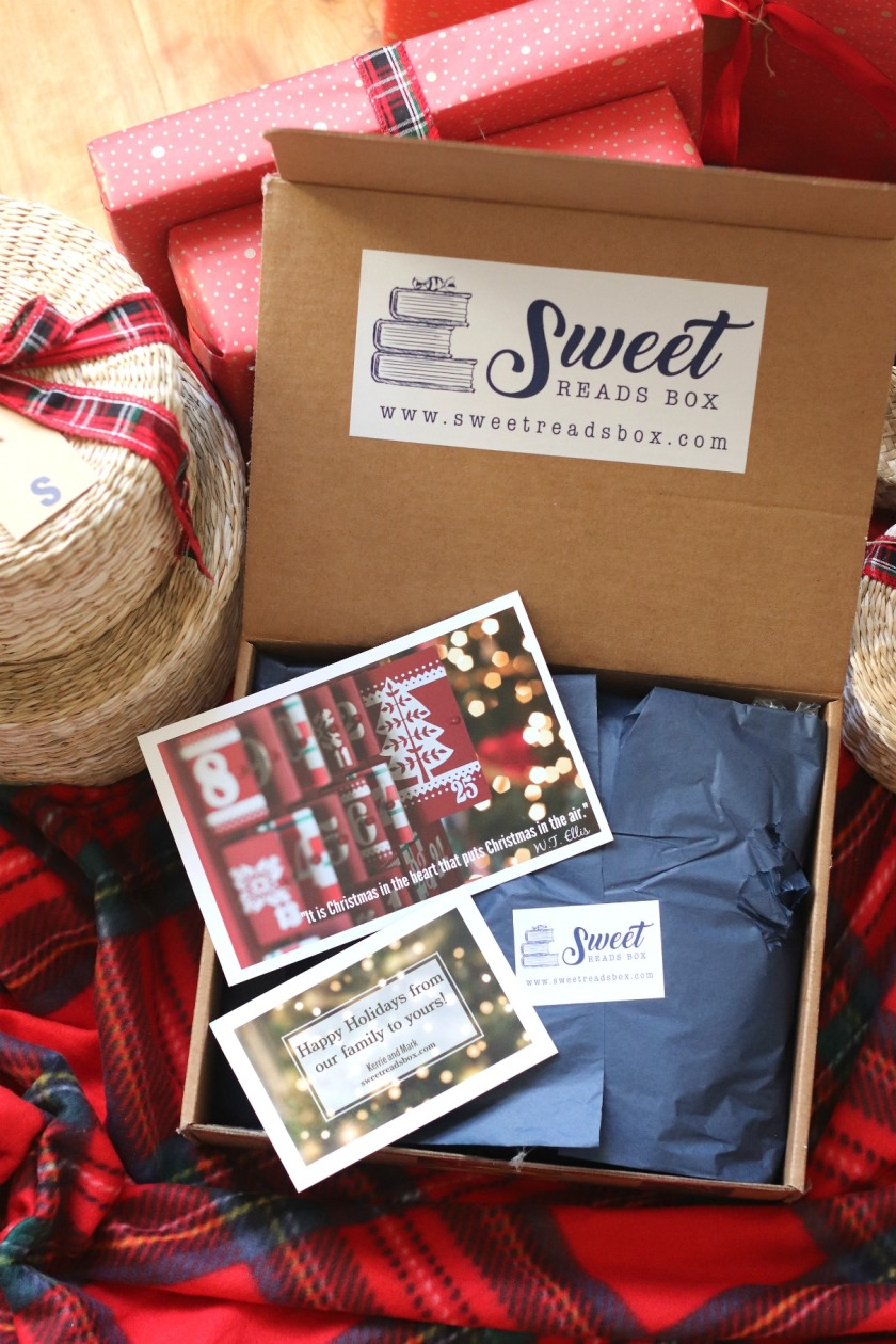 Sweet Reads Box Christmas Box 2019 inside the box wide shot