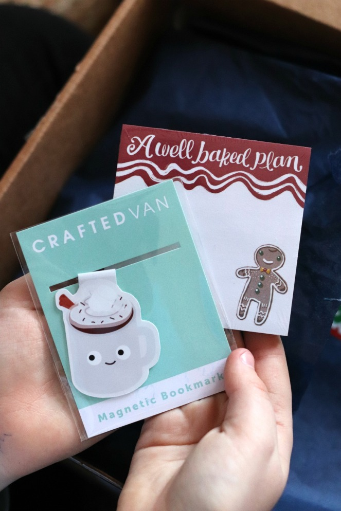 Sweet Reads Box Kids Christmas Box ages 8 to 12 Crafted Van bookmark and A well baked plan sticky notes try small things